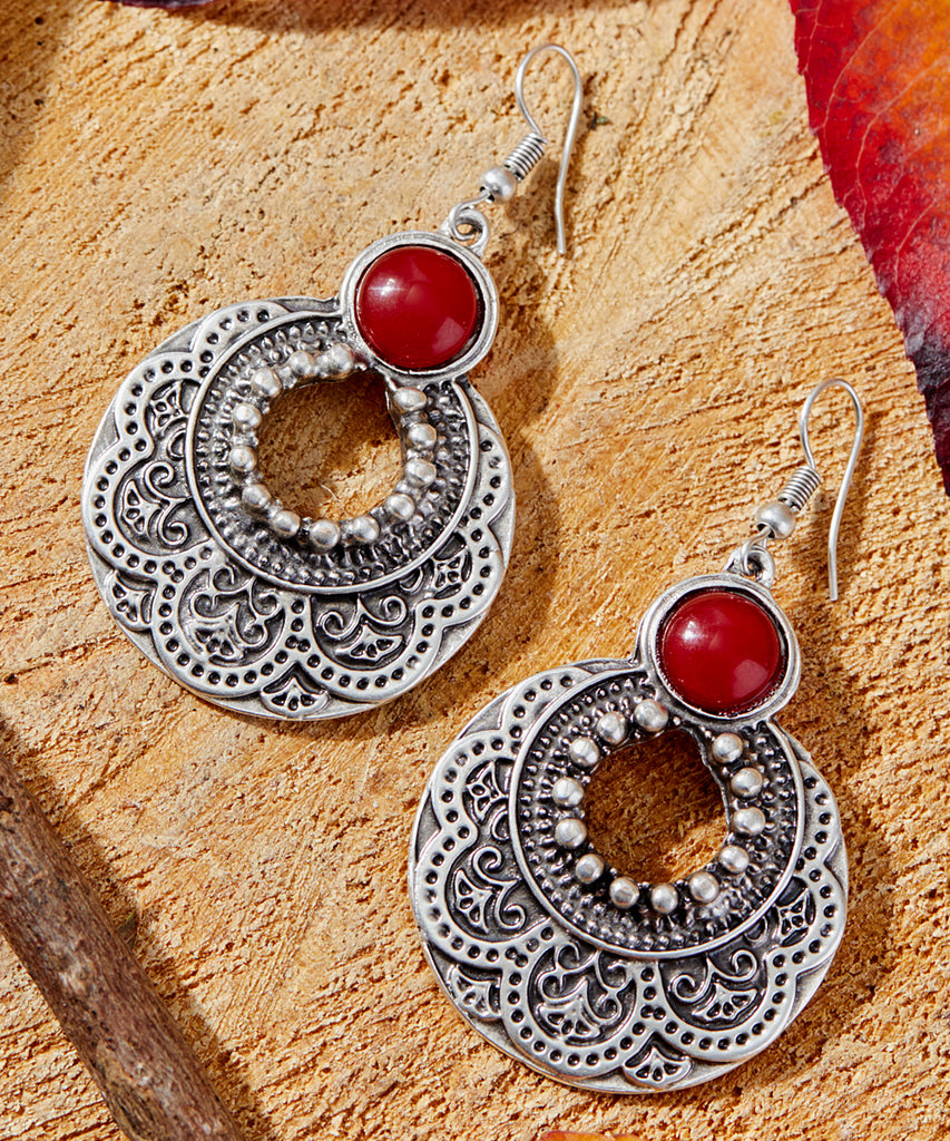 Red & Silvertone Embossed Crescent Drop Earrings