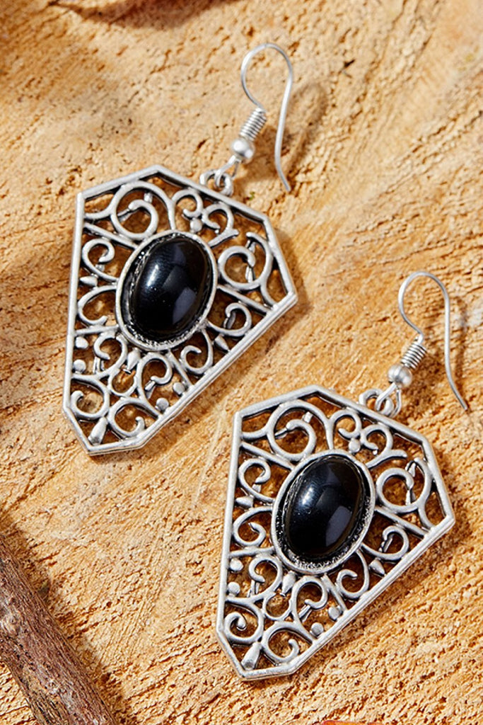 Black & Silvertone-Plated Latticework Drop Earrings