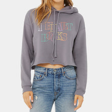 Load image into Gallery viewer, I Heart Books Grey Crop Hoodie