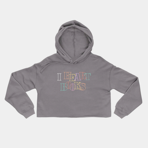 I Heart Books Grey Crop Hoodie