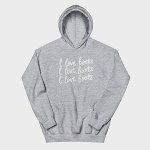 I Love Books Grey Heather Hoodie
