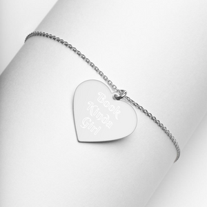 Book Kinda Girl Engraved Silver Heart Necklace