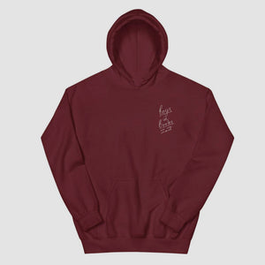 Boys In Books Are My Weakness Embroidered Burgundy Hoodie
