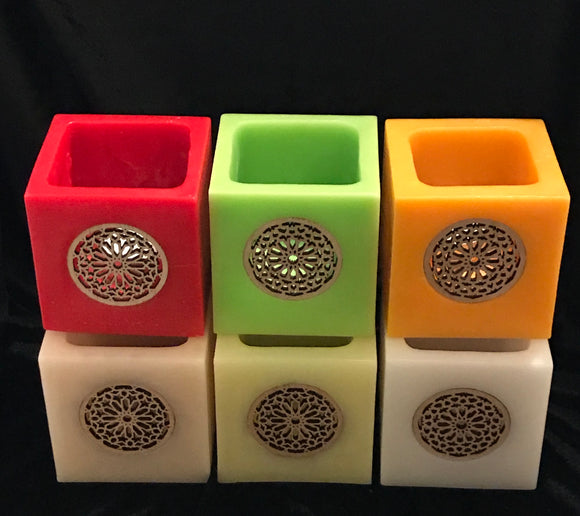 Square Wax Lantern with Wood Rose window Design Collection