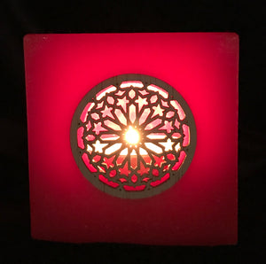Square Wax Lantern with Wood Rose window Design