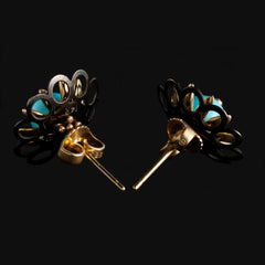 Flower Stud Earring with Turquoise and Diamonds