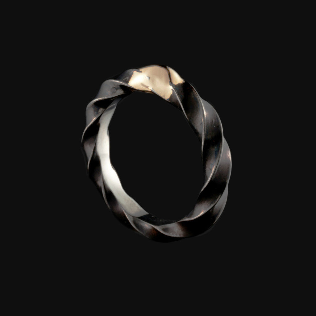 Steel & 14K Twist Ring