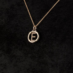 Circle Letter Charm Necklace — E