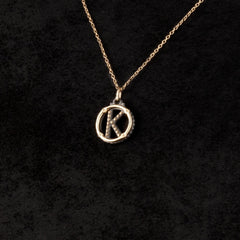 Circle Letter Charm Necklace — K
