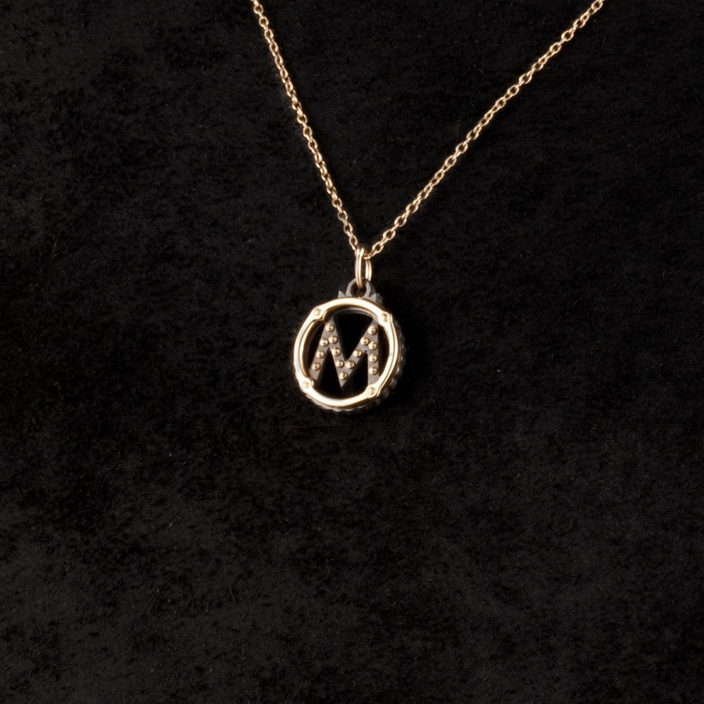 Circle Letter Charm Necklace — M