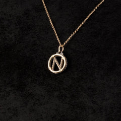 Circle Letter Charm Necklace — N