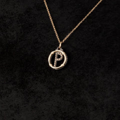 Circle Letter Charm Necklace — P