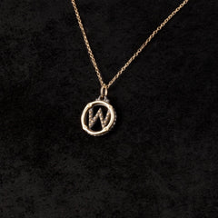 Circle Letter Charm Necklace — W