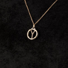 Circle Letter Charm Necklace — Y