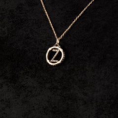 Circle Letter Charm Necklace — Z