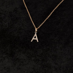 Single Letter Charm Necklace — A