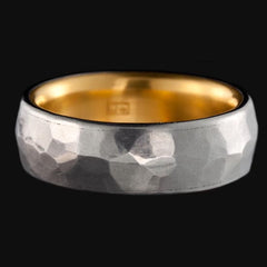 Stainless Steel Medium Ring with 24k Gold Lining