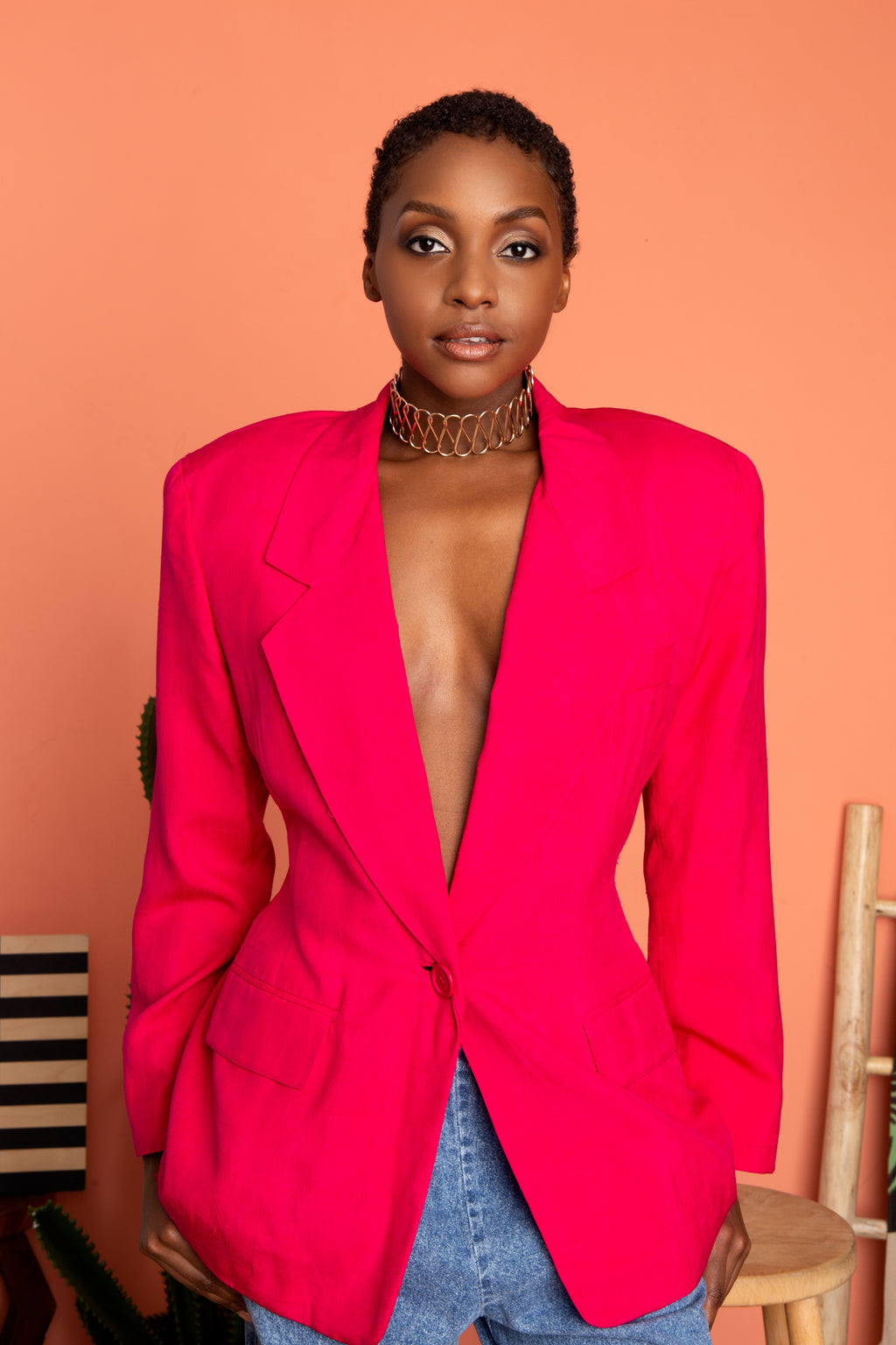 Vintage Highlighter Pink Blazer