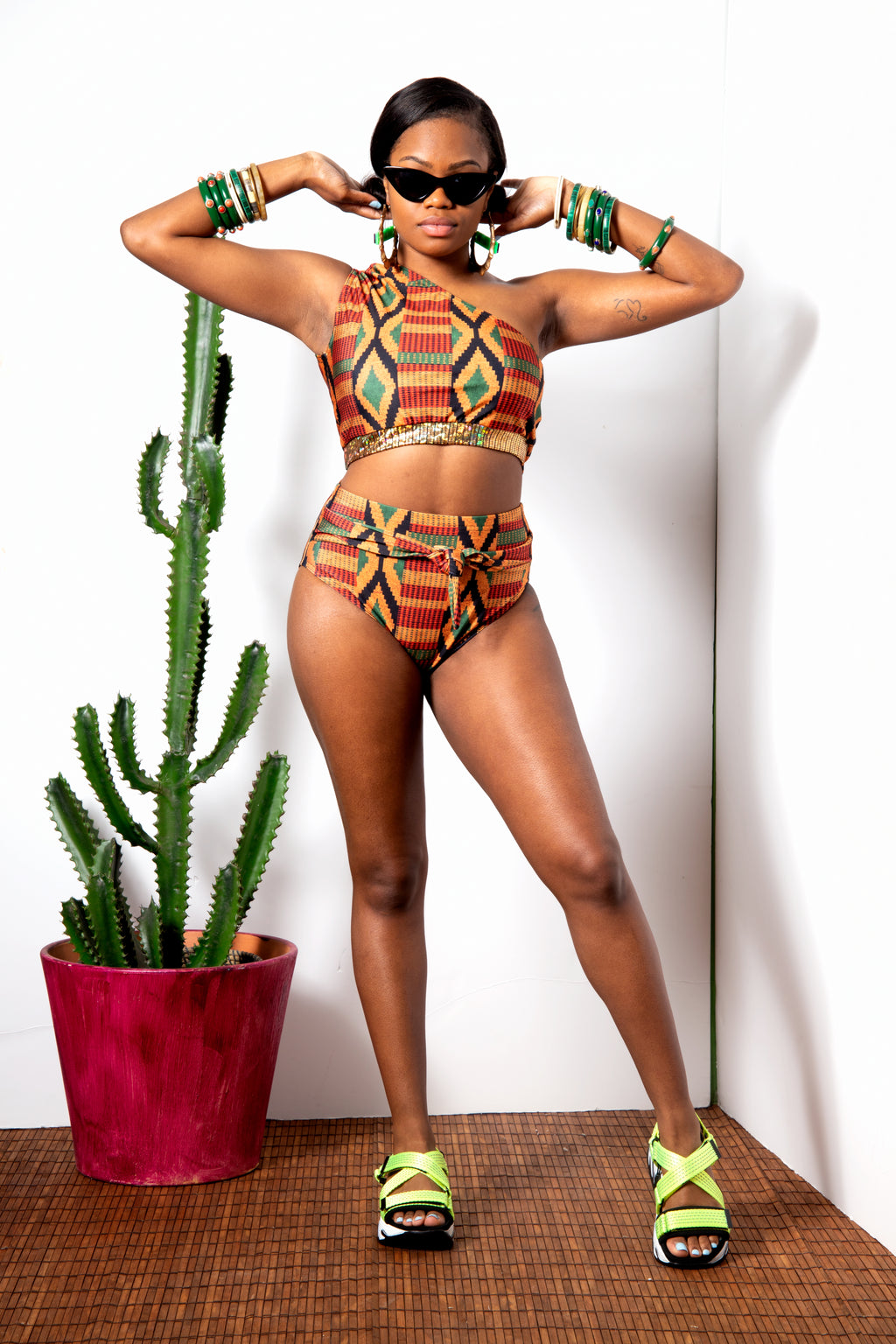 Kente One Shoulder Bikini Top