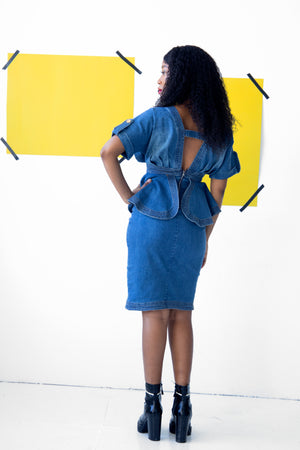 Denim Peplum Dress