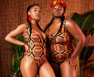 Kente Zip Front Swimsuit