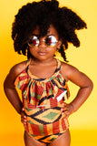 Kente Ruffle Front Swimsuit