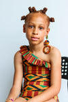 Little Kente One Shoulder Ruffle Swimsuit