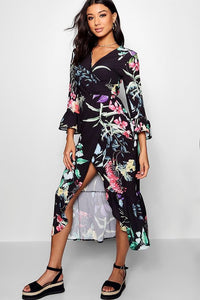 Floral Ruffle Maxi Cardigan Dress