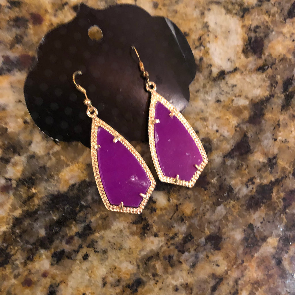 Purple Gold Earrings