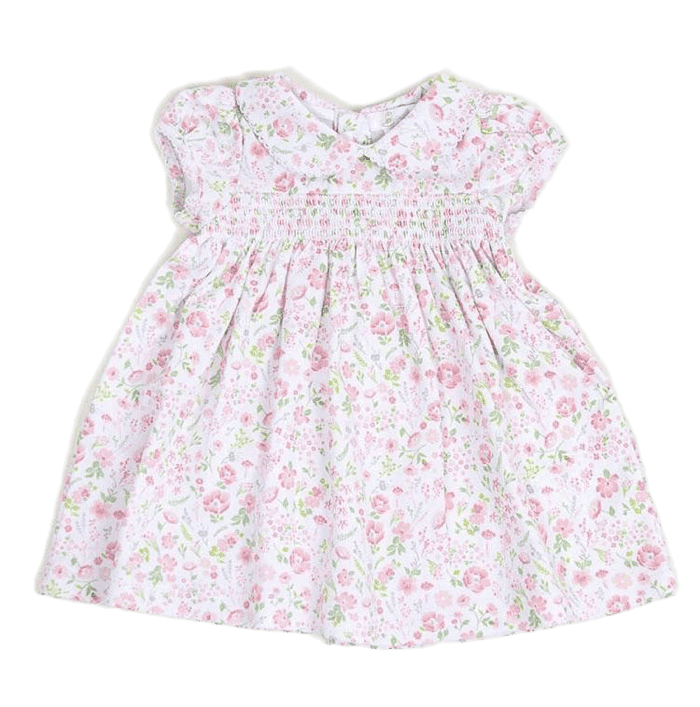 Smocked Pima Dress-Garden Floral