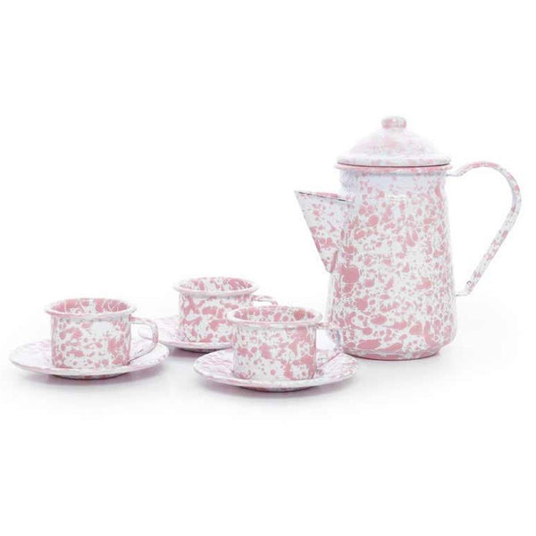 Splatterware-Enamelware Children's Tea Set for 3
