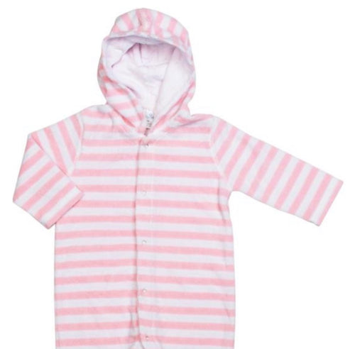 Terry Onesie Pink Stripe