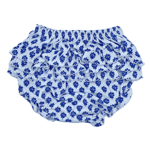 Ruffled Diaper Cover-Blue Floral
