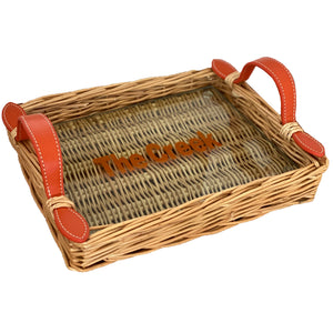 Willow and Glass Tray Small