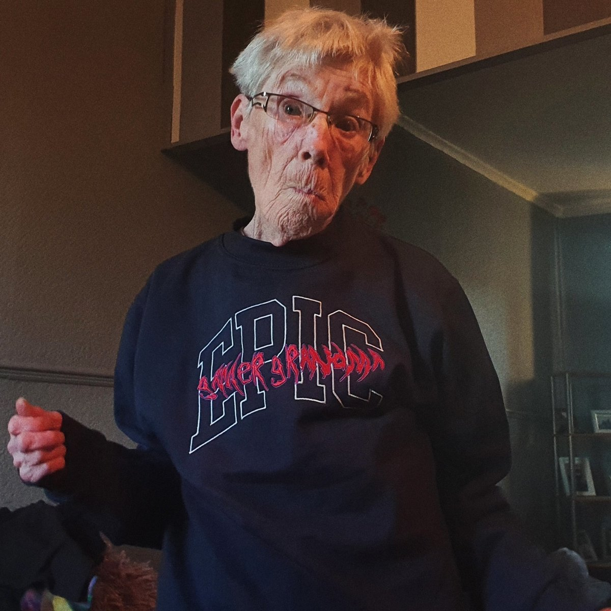 Epic Gamer Grandma - College Navy Unisex Embroidered Sweater - The Fresh Stuff