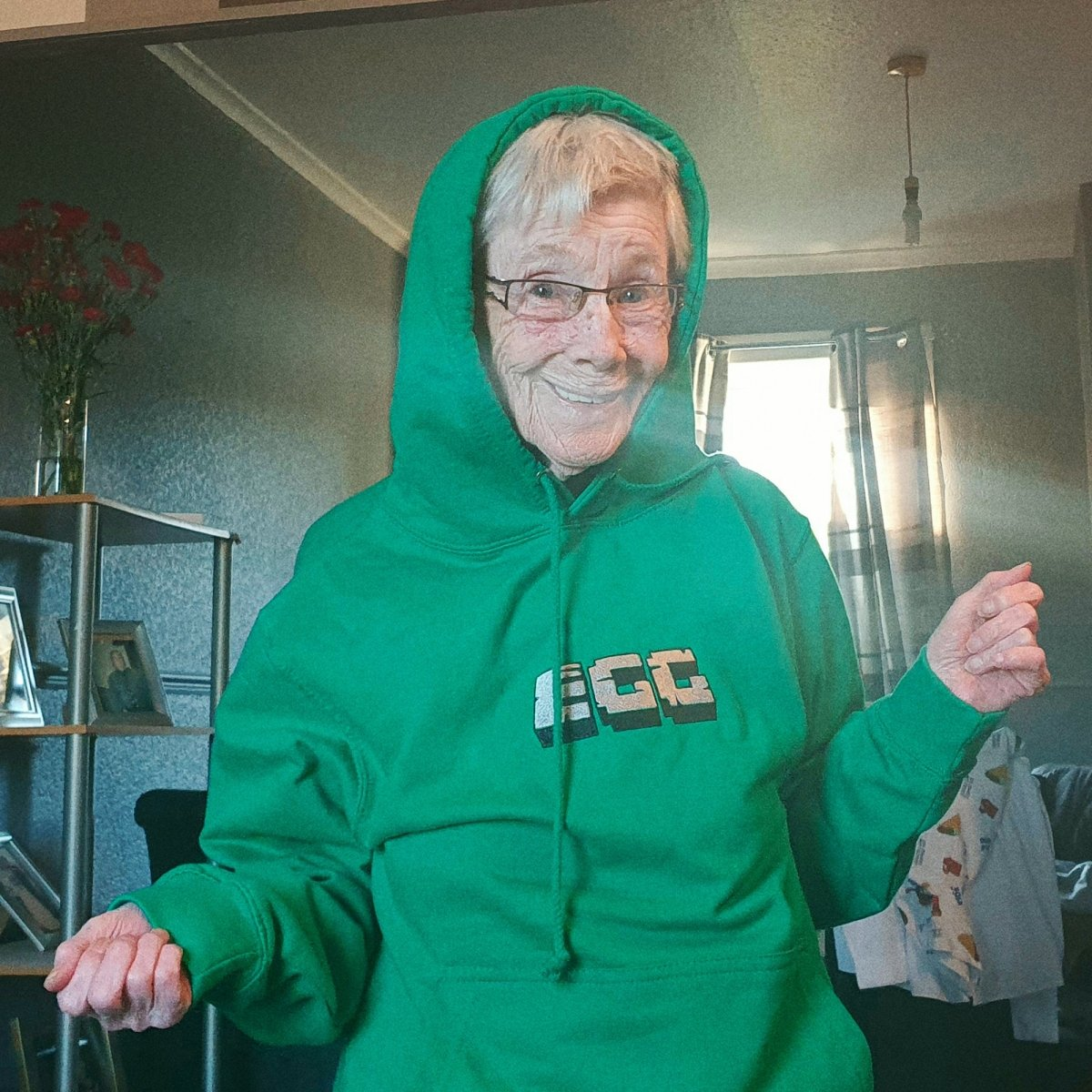 Epic Gamer Grandma - Minecraft EGG Green Embroidered Hoodie - The Fresh Stuff