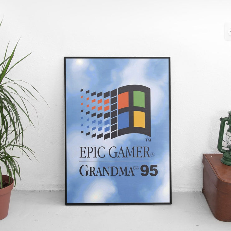 Epic Gamer Grandma - Retro Computer Logo Poster - The Fresh Stuff