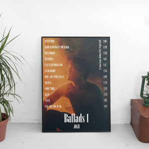 Joji - Ballads 1 Tracklist Poster - The Fresh Stuff