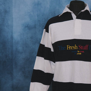The Fresh Stuff LTD Unisex Embroidered Striped Navy/White Rugby Shirt - The Fresh Stuff