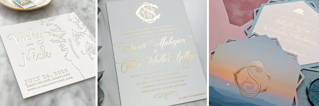 Examples of champagne foil, gold foil, and rose gold foil by Scotti Cline Designs