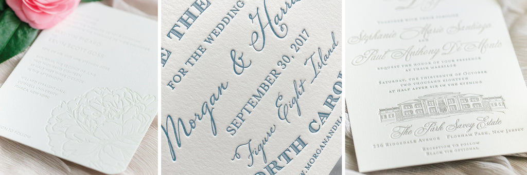 Example photos of letterpress printing by Scotti Cline Designs