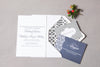 Trellis Letterpress Wedding Invitation with coordinating navy and grey inserts. Picture by Jennifer Bearden Photography.