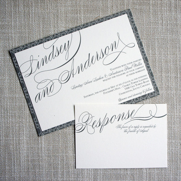 Angled Script Wedding Invitation with response card