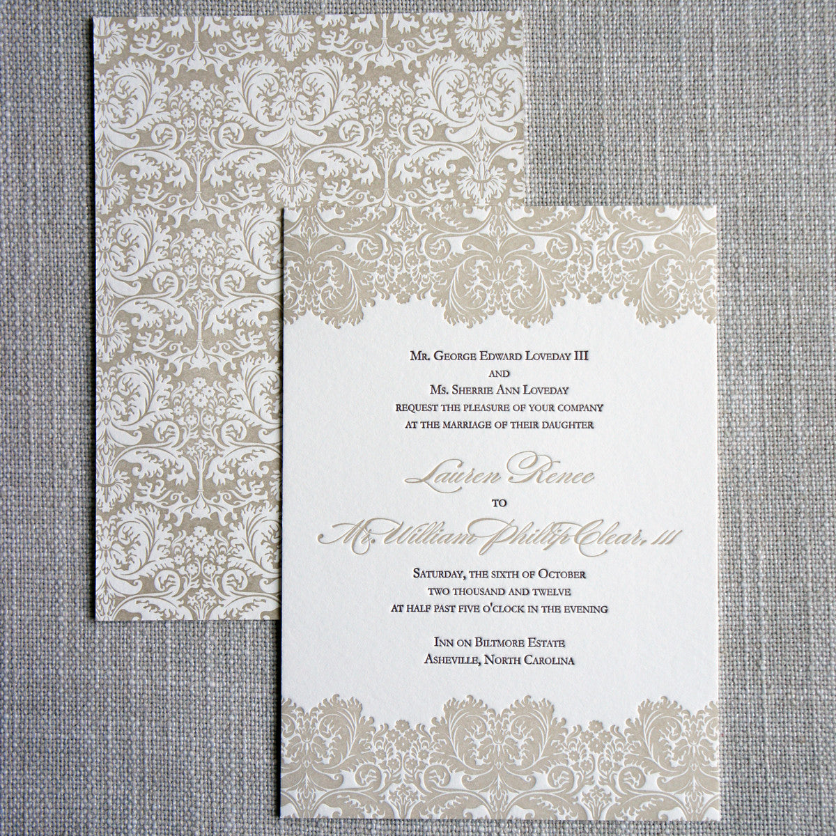 our biltmore damask wedding invitation features damask inspired by the biltmore house on the front and - Damask Wedding Invitations