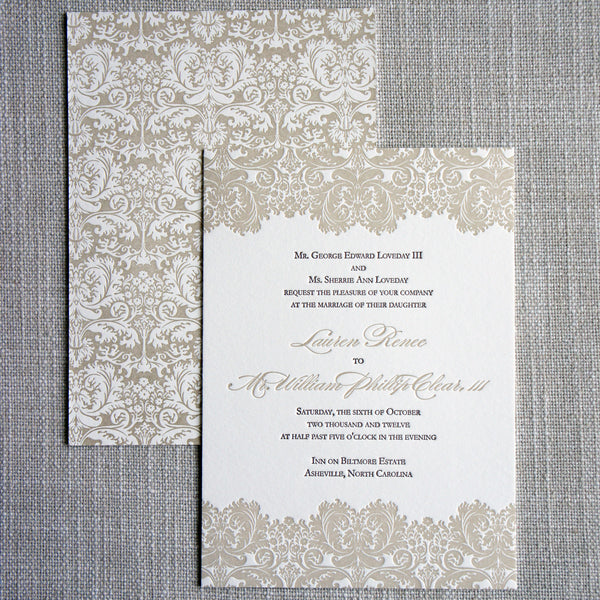 Our Biltmore Damask Wedding Invitation features damask inspired by the Biltmore House on the front and back of the letterpress wedding invitation.