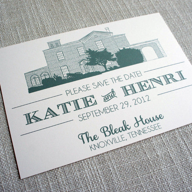 Save the Date featuring sketch of the Bleak House in Knoxville, Tennessee