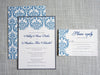 Blue and Gray Damask Invitation