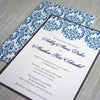 Blue and Gray Damask Wedding Invitation shown with backing.