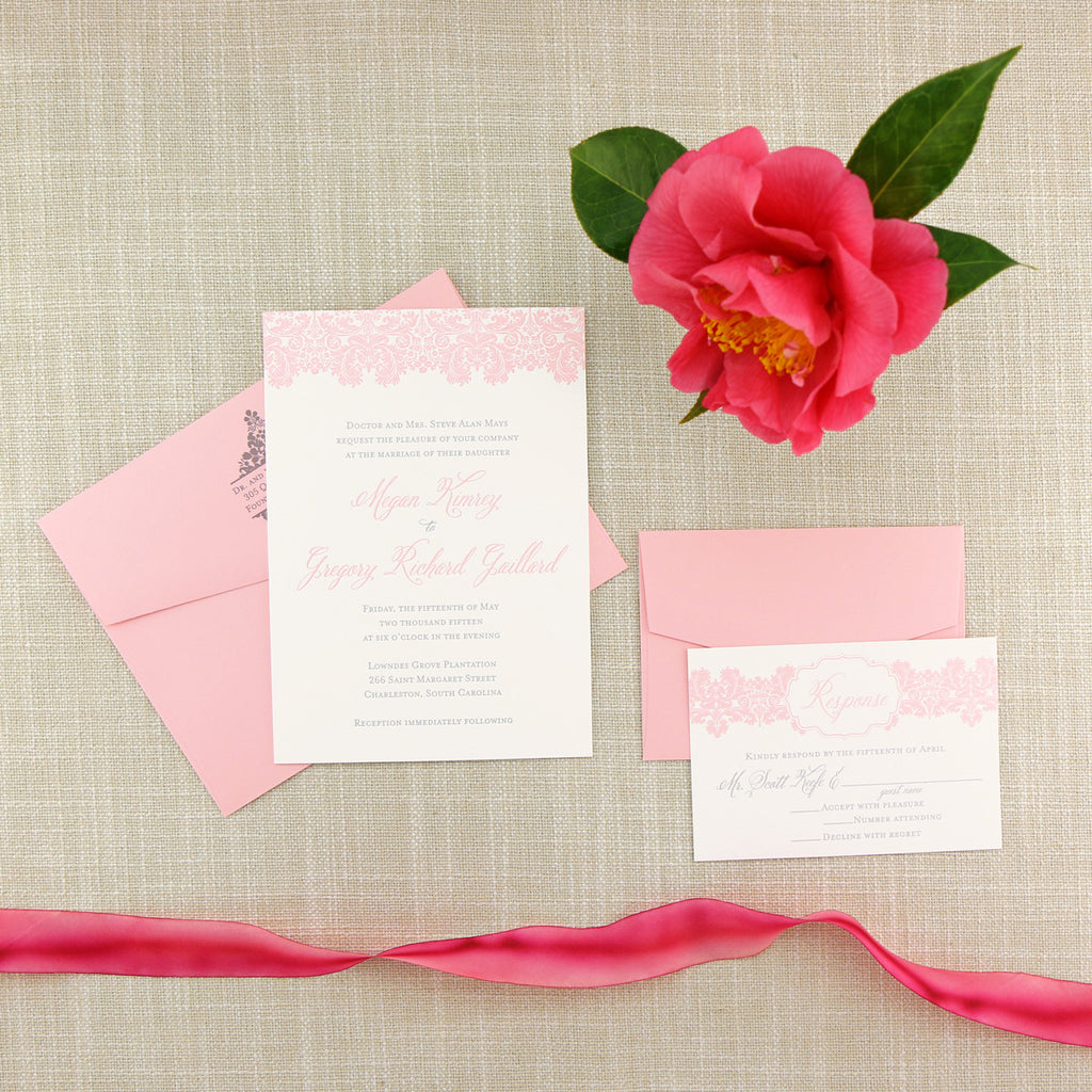 Blush Damask Letterpress Wedding Invitation
