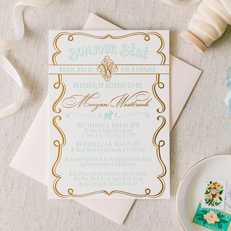 Bonjour Bebe Baby Shower Invitation by Scotti Cline Designs. Photo by the amazing Dana Cubbage Photography.